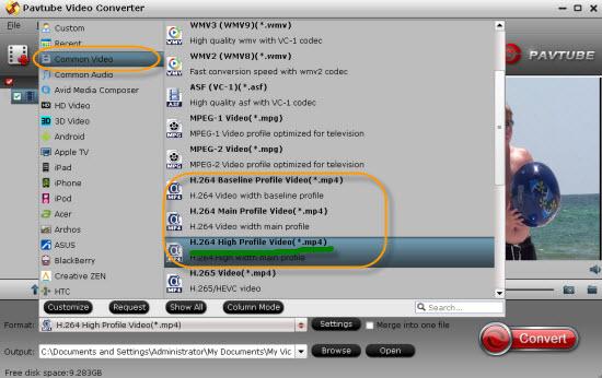Convert HD Videos to H.264 Video