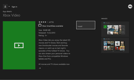 Open Video application on Xbox One