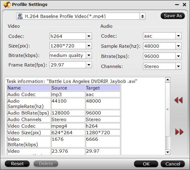 Adjust output profile parameters