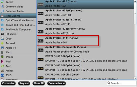 Output Apple Prores 4444 format