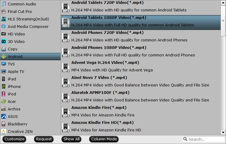 Output devices preset MP4 file format