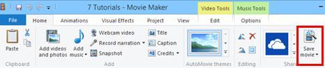 Clip save movie button