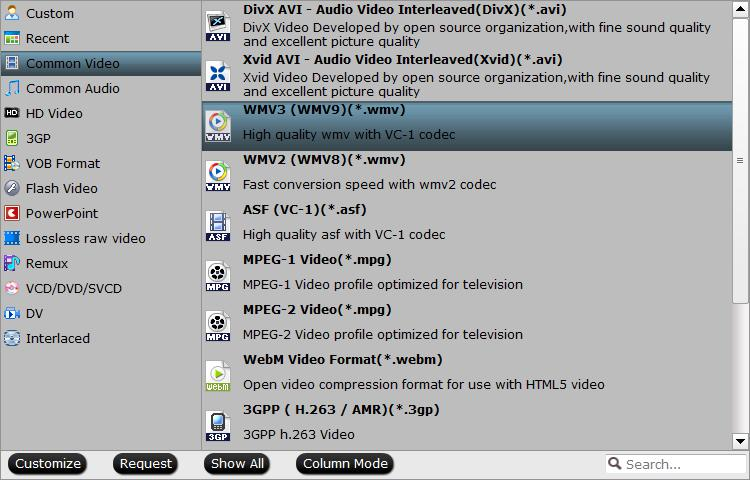 Output HD WMV video