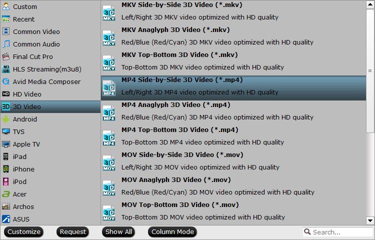 Samsung Smart TV supported 3D file formats