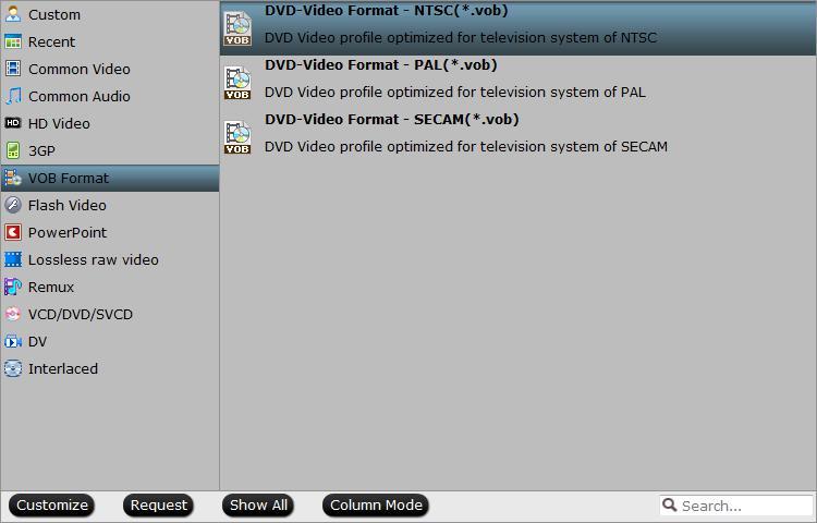Output NTSC VOB format